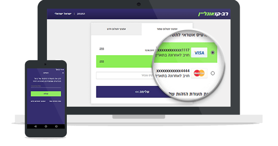 Screenshot of the Rav-Kav Online payment page
